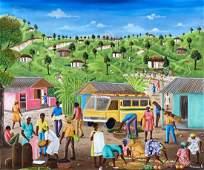 WILSON ANACREON (20th c, Haiti) Village Scene