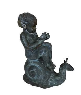 Boy On Snail, 19th Century Bronze