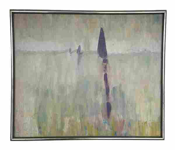 Modernist Lake Scene With Boats, Signed