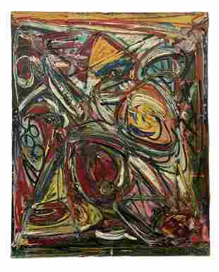 French Mid-Century Modern Abstract, Signed