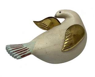 Modernist Carved Wood Dove, Signed