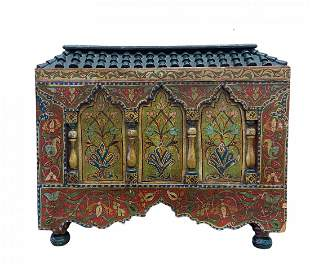 Hand Painted Moroccan Style Wood Chest