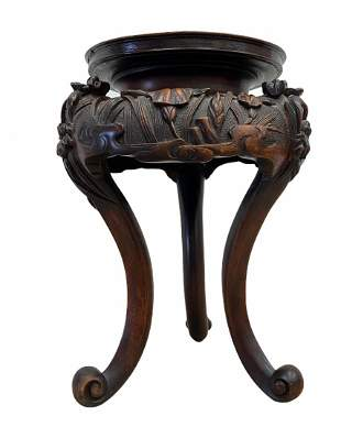 Oriental Carved Wooden Small Table