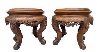 Pair Of Oriental Carved Wood Stools