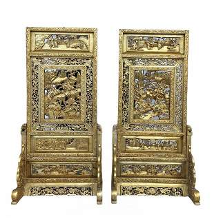 Pair of Hand Painted Oriental Gold Screens