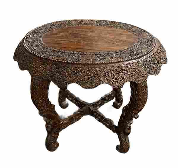 Japanese Ornately Carved Round Table