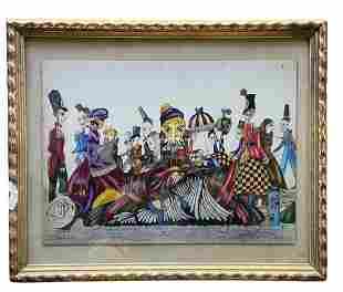 Modern Fantasy Scene Of Figures, Monogrammed Watercolor