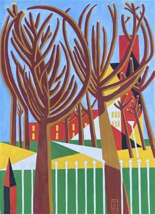 THOMAS M BARNETT (20th c, American) Mod Landscape