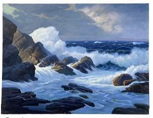 GEORGE HOLLOWAY (1882-1977, UK) Seascape
