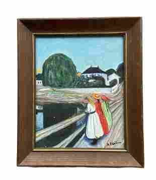 French Scene Of Women By Lake, Signed