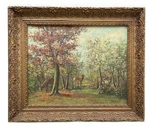 PIETER VAN SCHAIK JR (1910-1999) Landscape w/ Deer
