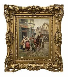CARLOS PEREZ (1853-1929, Spain) Street Scene