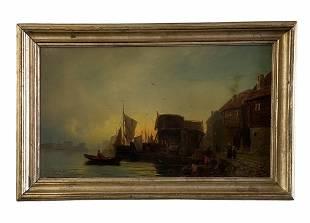 French Impressionist Harbor Scene, Signed