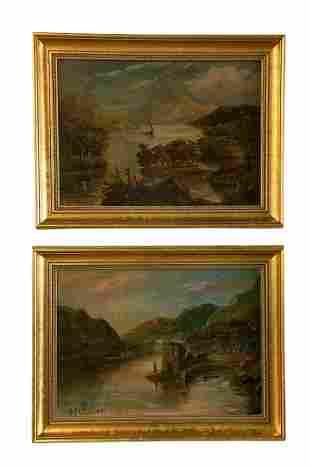 Pair Of Antique Hudson River School Paintings