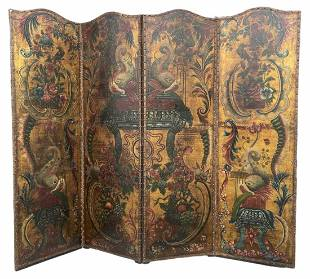 19th Century Hand Painted European 4 Section Screen