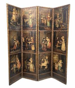"""18th Century Painted English Screen """"Cries Of London"""""""
