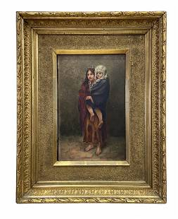 """19th Century Painting of Mother & Child """"Homeless"""""""