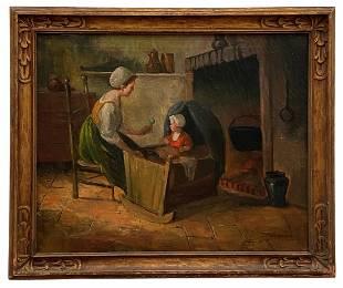 19th Century Interior Dutch Scene, Signed