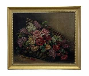 Antique Still Life Of Flowers, Signed
