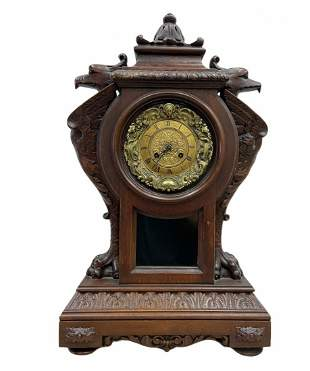 Ornately Carved 19th Century French Clock