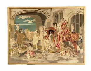 Antique French Tapestry, Romantic Scene