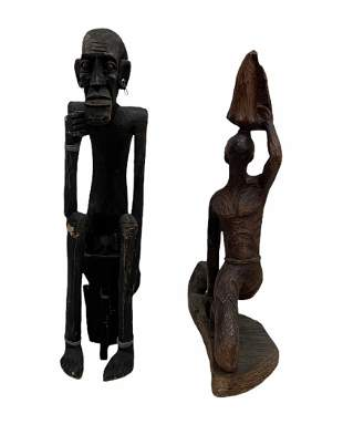 Pair Of Vintage Hand Carved Wooden African Figures