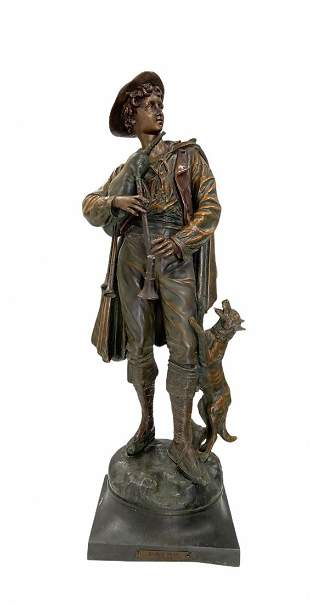 French Spelter Sculpture Of A Young Boy