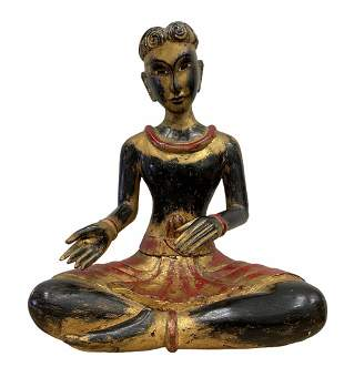 19th Century Carved Wooden Oriental Seated Diva