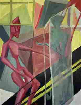 Mid-Century Modern Cubist Figures, Illegible Signature