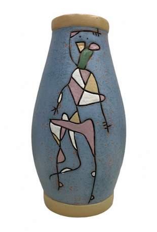 Studio Pottery Modernist Hand-Painted Figural Vase