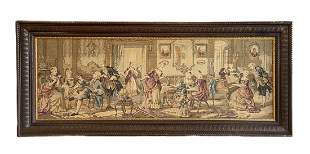Huge Antique English Tapestry, Party Scene