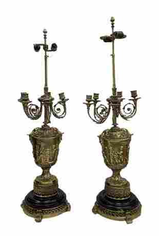 French Louis XV Style Gilt Bronze Candelabras Lamps