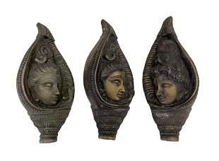 Three Bronze Hindi Deities, Wall Sculptures