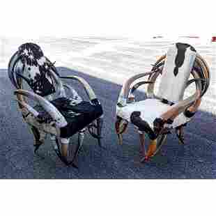 Large Scale Cowhide Texas Longhorn Chairs