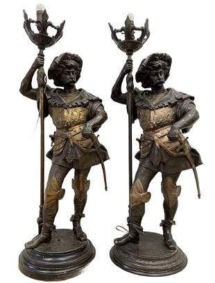 Pair Of Figural Polychrome Lamps, Italian Swordsman