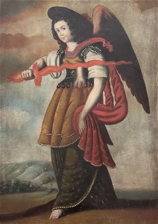 Archangel Uriel With Flaming Sword, Cuzco School