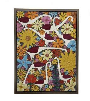 PAUL NEMOURS (20th c, Haiti) Birds & Flowers