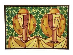 Large Latin American Modernist Figures , Signed