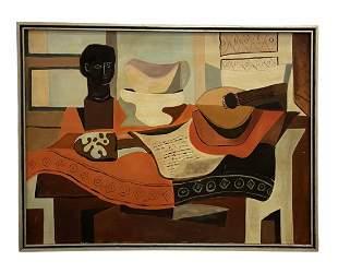 Large Mid-Century Cubist Still Life, Unsigned