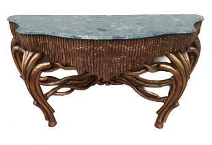 Grand Louis XV Style Faux Bois Marble Entrance Table
