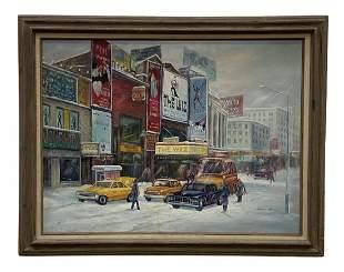 Beautiful Broadway New York City Winter Scene, Signed