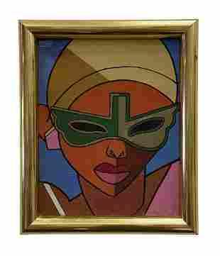 Vintage Haitian Modernist Portrait, Illegible Signature