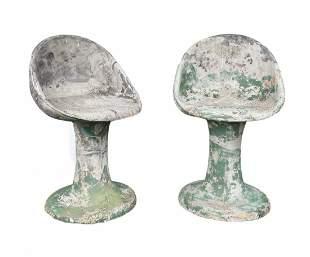 Pair Of Willy Guhl Concrete Garden Chairs