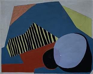 1970's Modern Cubist Abstract Signed Bieganska