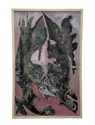 Large Mid-Century Modern Abstract, Illegible Signature