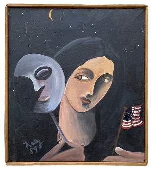 1980's American Modernist Painting Signed Kelly