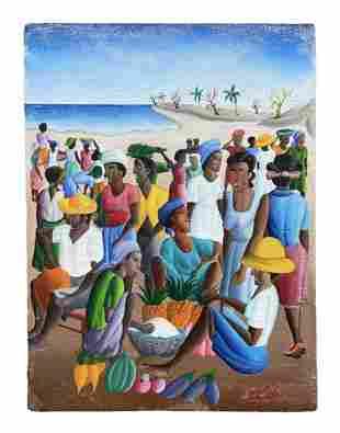 Haitian Naive Festive Beach Scene, Signed