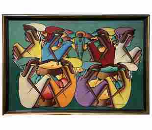 Haitian Modernist Village Scene Of Figures, Signed