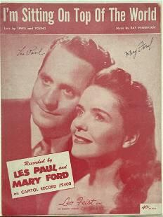 LES PAUL & MARY FORD Signed Sheet Music w/ COA