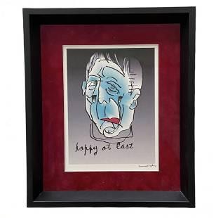 "LEONARD COHEN ""Happy At Last"" Signed Artwork"